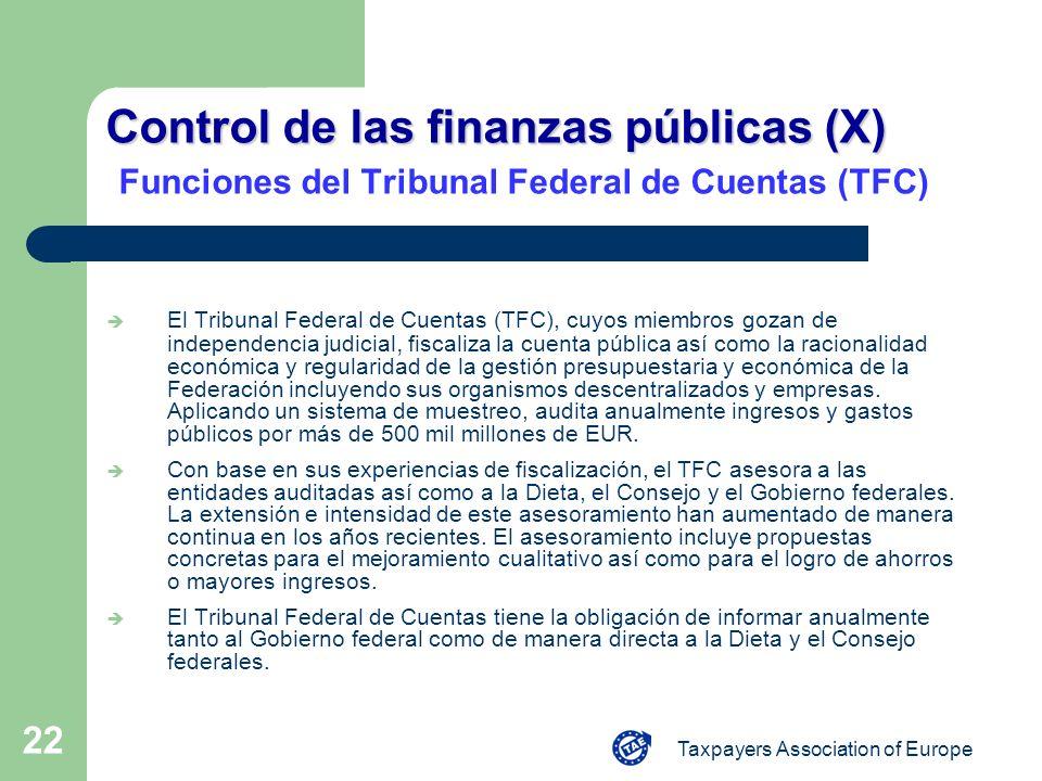 Taxpayers Association of Europe 22 Control de las finanzas públicas (X) Control de las finanzas públicas (X) Funciones del Tribunal Federal de Cuentas