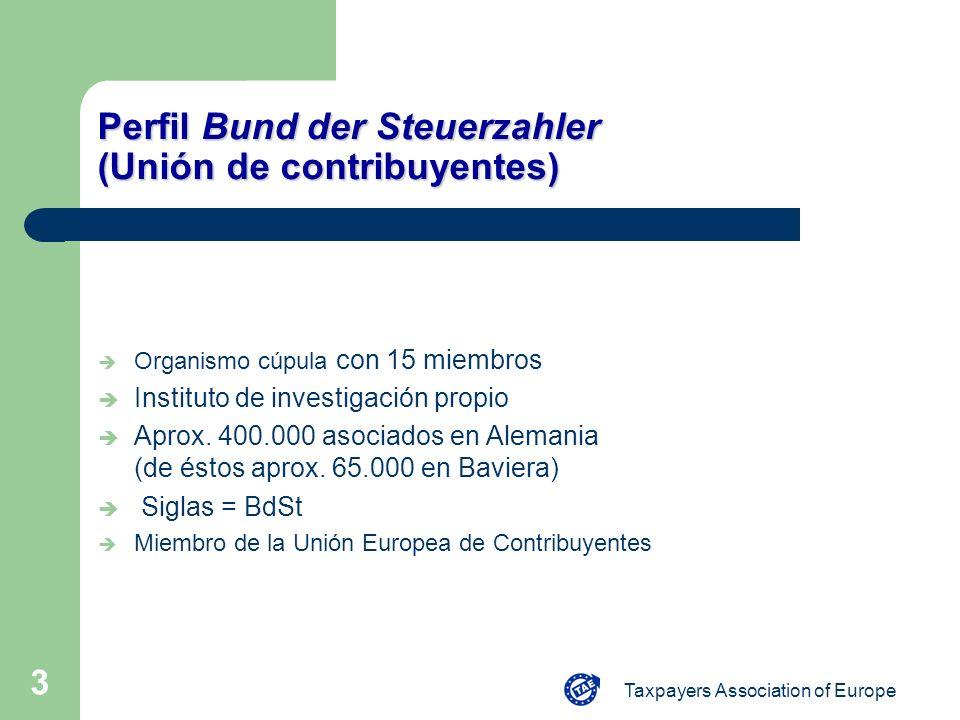 Taxpayers Association of Europe 3 Perfil Bund der Steuerzahler (Unión de contribuyentes) è Organismo cúpula con 15 miembros è Instituto de investigaci