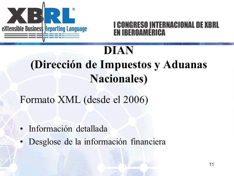 DIAN (Dirección de Impuestos y Aduanas Nacionales) Formato XML (desde el 2006) Información detallada Desglose de la información financiera 11