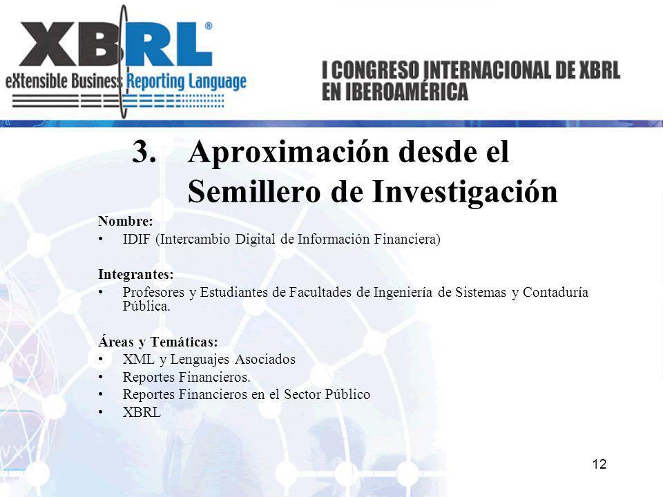 3.Aproximación desde el Semillero de Investigación Nombre: IDIF (Intercambio Digital de Información Financiera) Integrantes: Profesores y Estudiantes
