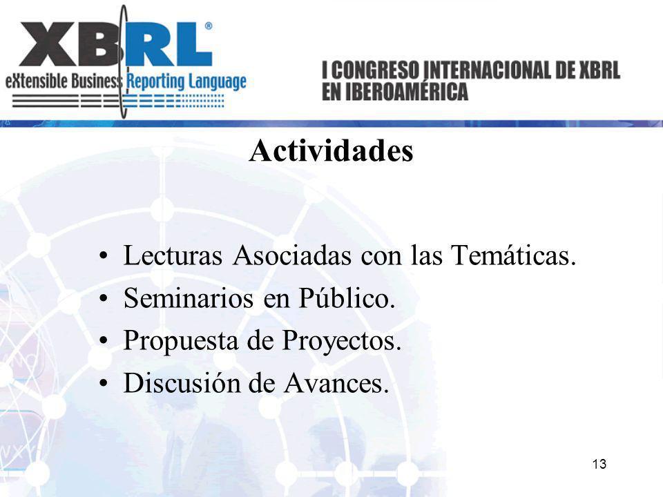 Actividades Lecturas Asociadas con las Temáticas. Seminarios en Público. Propuesta de Proyectos. Discusión de Avances. 13