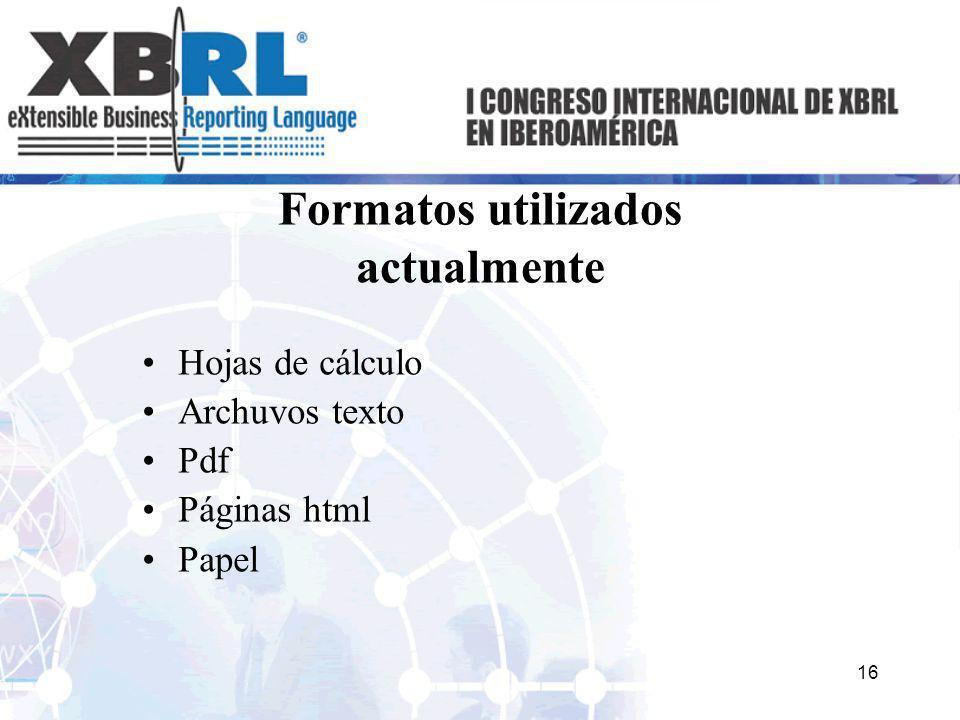 Formatos utilizados actualmente Hojas de cálculo Archuvos texto Pdf Páginas html Papel 16