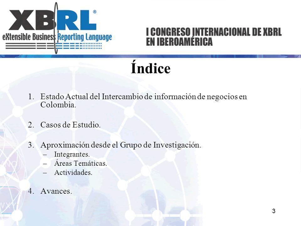 Índice 1.Estado Actual del Intercambio de información de negocios en Colombia. 2.Casos de Estudio. 3.Aproximación desde el Grupo de Investigación. –In