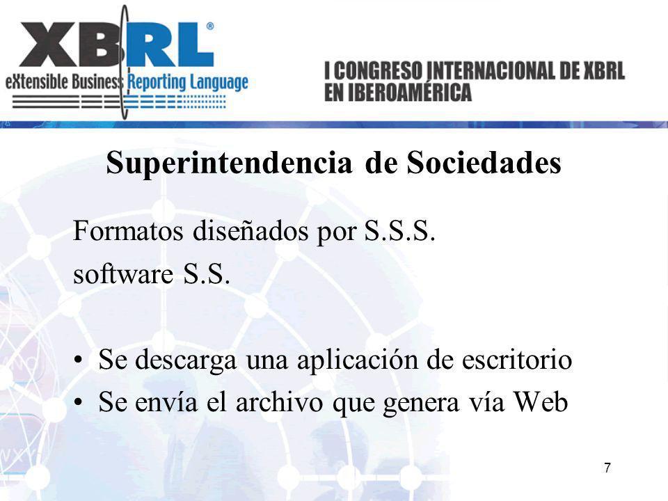 Superintendencia de Sociedades Formatos diseñados por S.S.S. software S.S. Se descarga una aplicación de escritorio Se envía el archivo que genera vía
