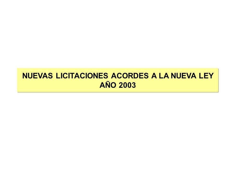 NUEVAS LICITACIONES ACORDES A LA NUEVA LEY AÑO 2003