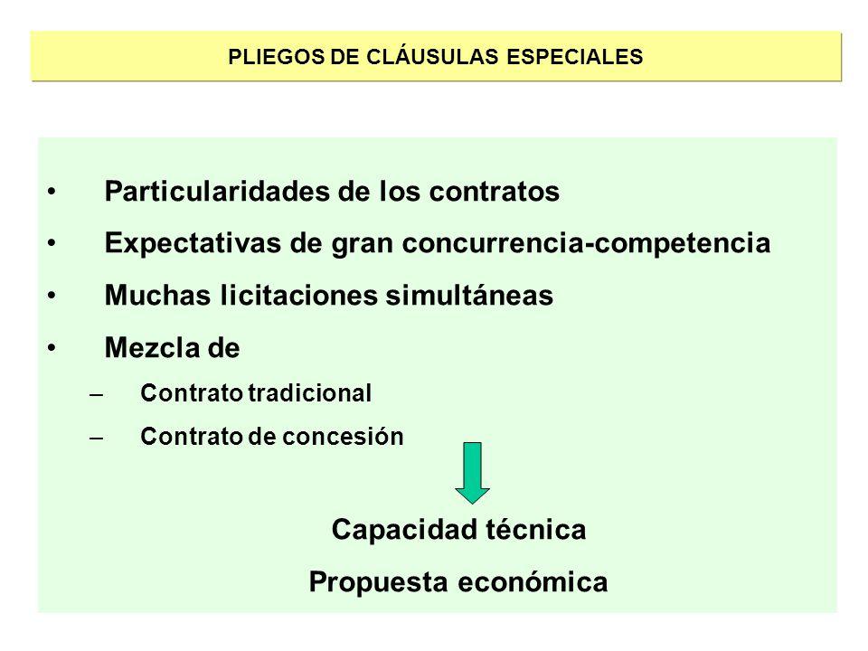 PLIEGOS DE CLÁUSULAS ESPECIALES Particularidades de los contratos Expectativas de gran concurrencia-competencia Muchas licitaciones simultáneas Mezcla