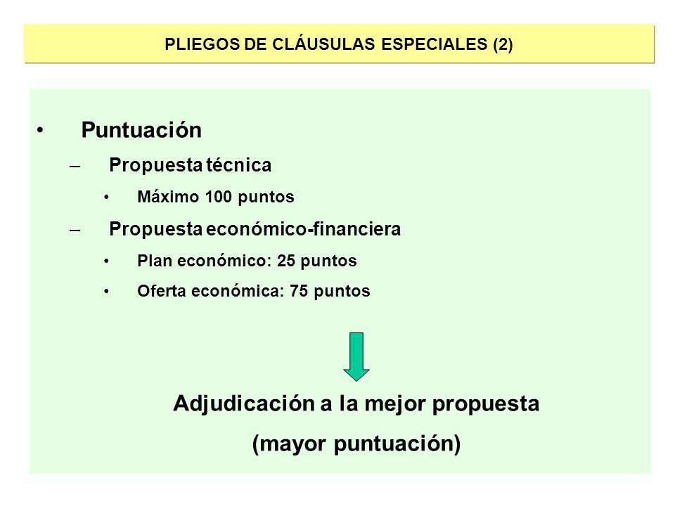 PLIEGOS DE CLÁUSULAS ESPECIALES (2) Puntuación –Propuesta técnica Máximo 100 puntos –Propuesta económico-financiera Plan económico: 25 puntos Oferta e