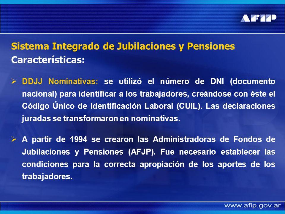 Implementación del nuevo sistema (Julio 1994): Sistema Integrado de Jubilaciones y Pensiones Identificación de los trabajadores - Nominatividad La pue