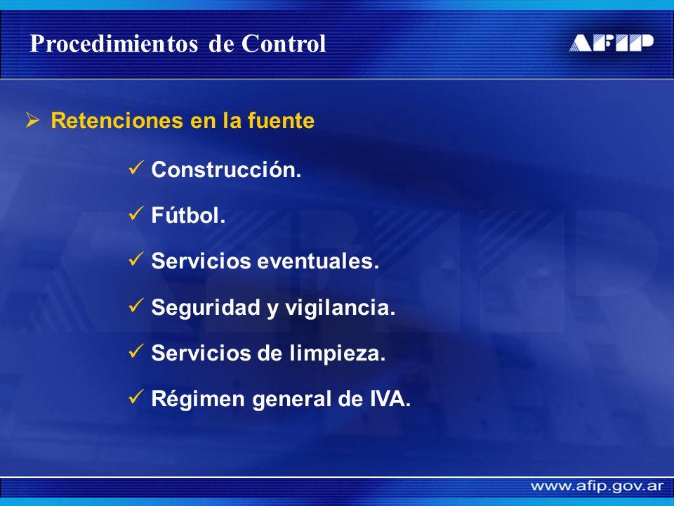 SISTEMAS DE CONTROL Procedimientos de Recaudación Control de incumplimientos Falta de presentación Intimación y multa automática Inspección y Determin