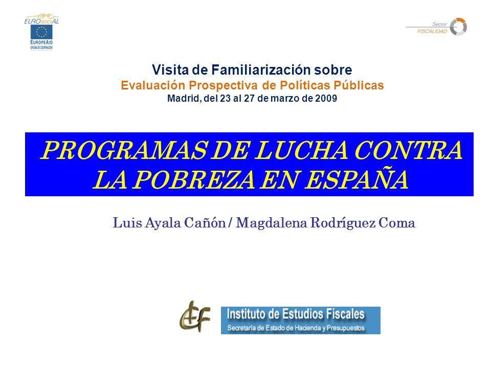 PROGRAMAS DE LUCHA CONTRA LA POBREZA EN ESPAÑA Luis Ayala Cañón / Magdalena Rodríguez Coma Visita de Familiarización sobre Evaluación Prospectiva de Políticas Públicas Madrid, del 23 al 27 de marzo de 2009