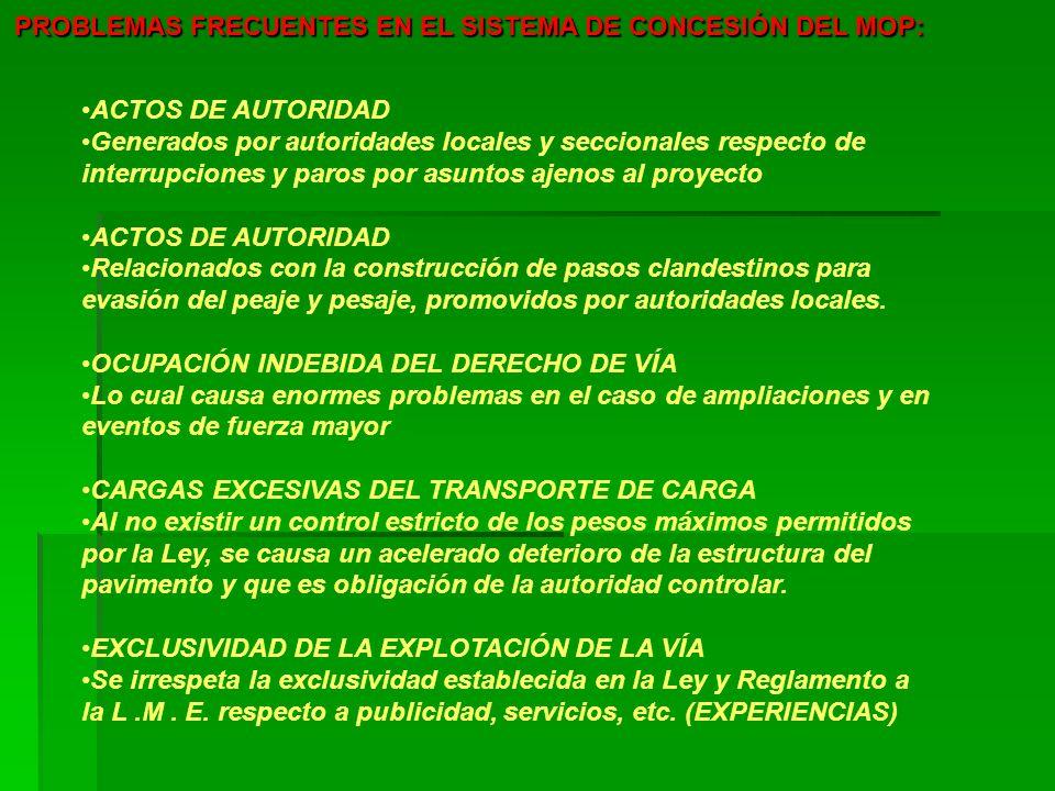 PROBLEMAS FRECUENTES EN EL SISTEMA DE CONCESIÓN DEL MOP: ACTOS DE AUTORIDAD Generados por autoridades locales y seccionales respecto de interrupciones