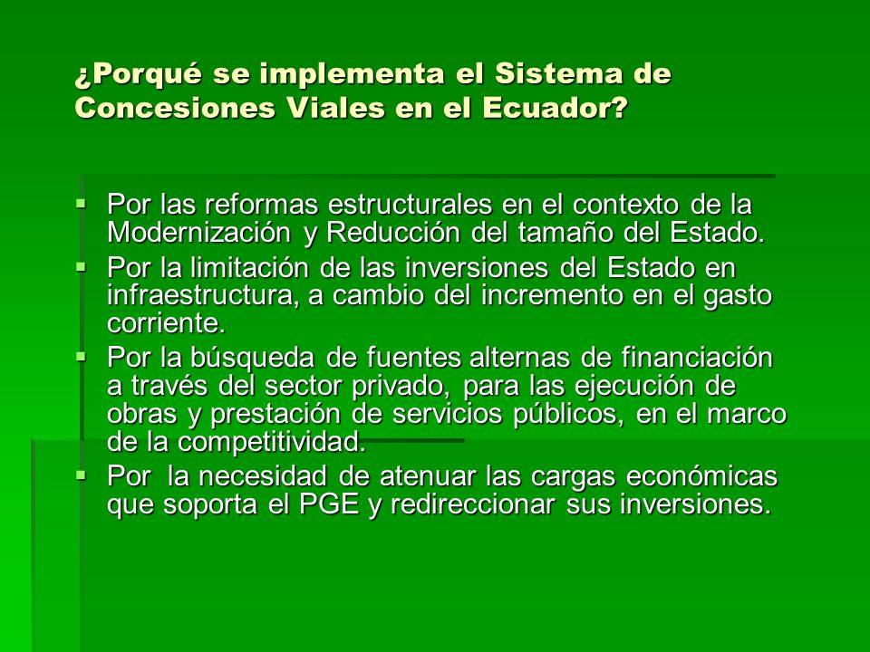 ¿Porqué se implementa el Sistema de Concesiones Viales en el Ecuador? Por las reformas estructurales en el contexto de la Modernización y Reducción de