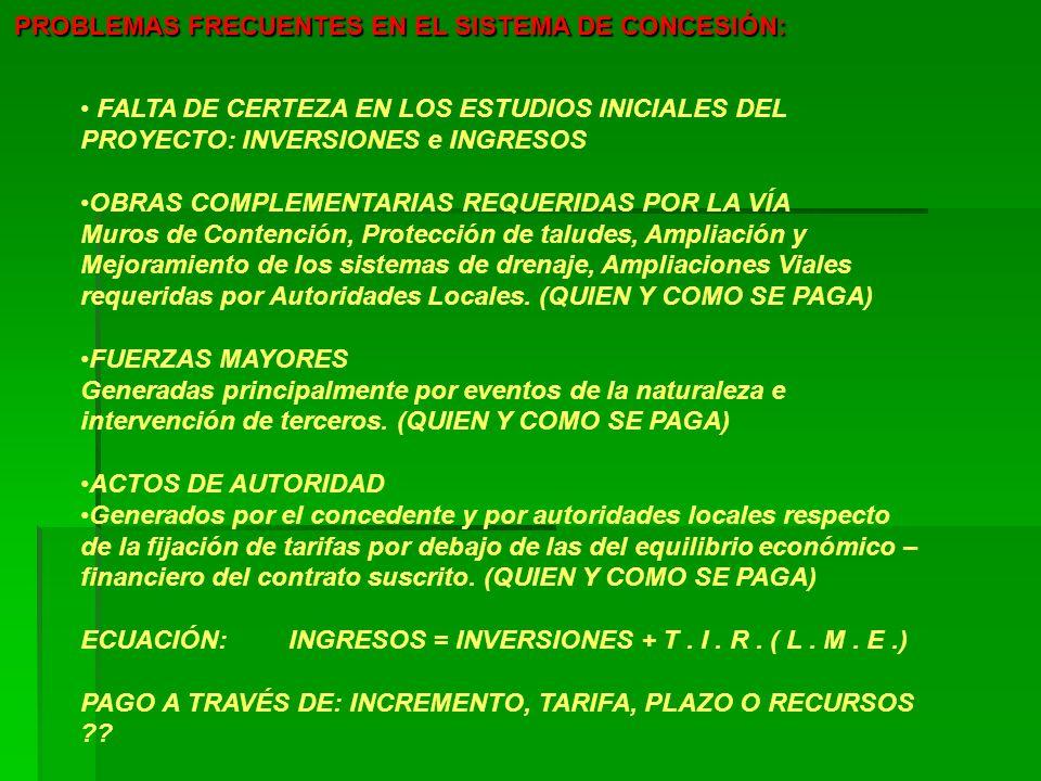 PROBLEMAS FRECUENTES EN EL SISTEMA DE CONCESIÓN: FALTA DE CERTEZA EN LOS ESTUDIOS INICIALES DEL PROYECTO: INVERSIONES e INGRESOS OBRAS COMPLEMENTARIAS