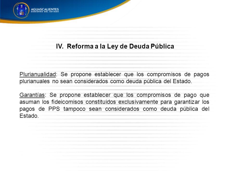 Plurianualidad: Se propone establecer que los compromisos de pagos plurianuales no sean considerados como deuda pública del Estado.