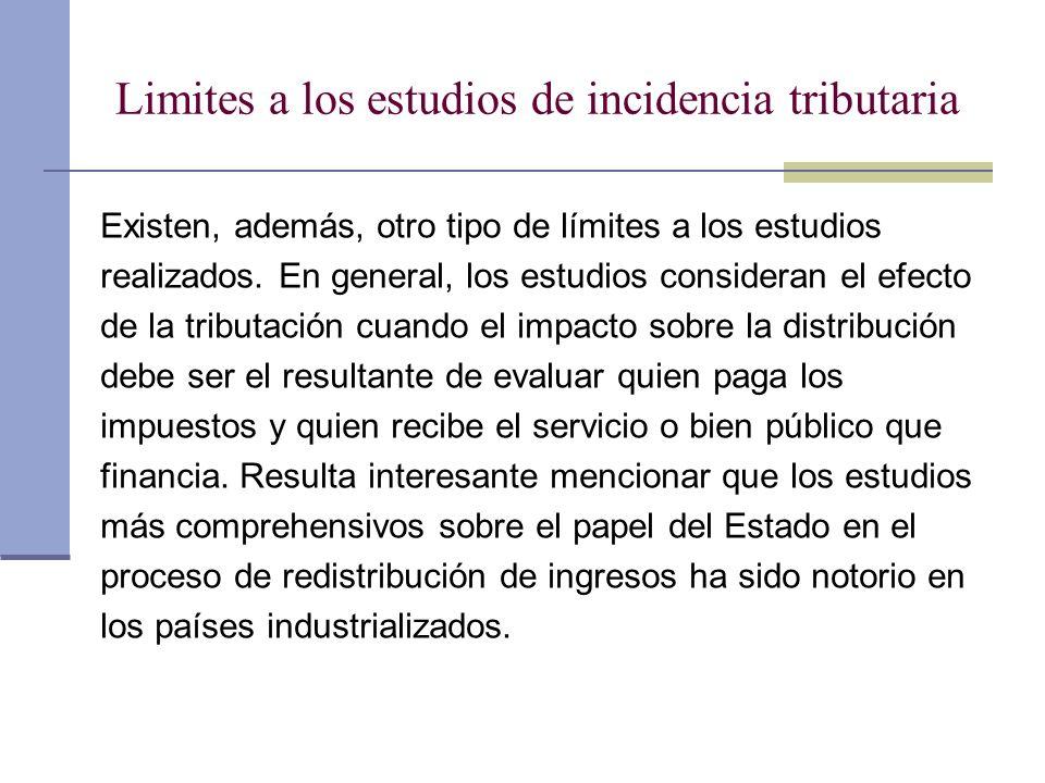 Limites a los estudios de incidencia tributaria Existen, además, otro tipo de límites a los estudios realizados. En general, los estudios consideran e