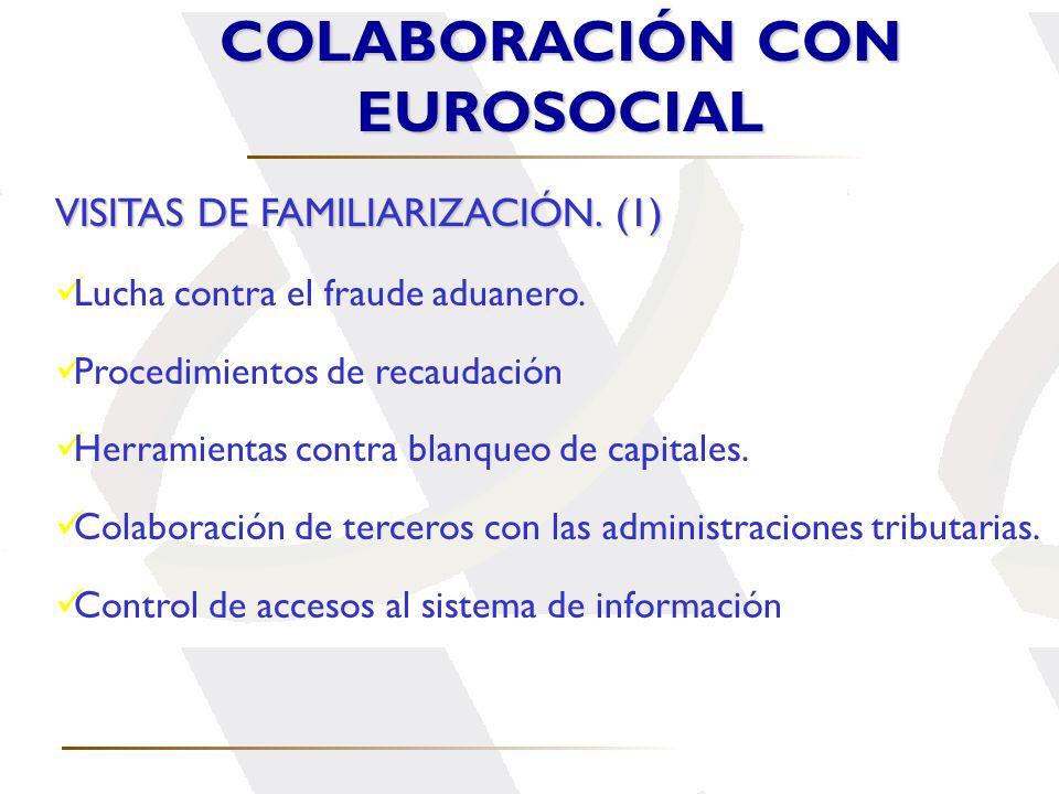 VISITAS DE FAMILIARIZACIÓN. (1) Lucha contra el fraude aduanero. Procedimientos de recaudación Herramientas contra blanqueo de capitales. Colaboración