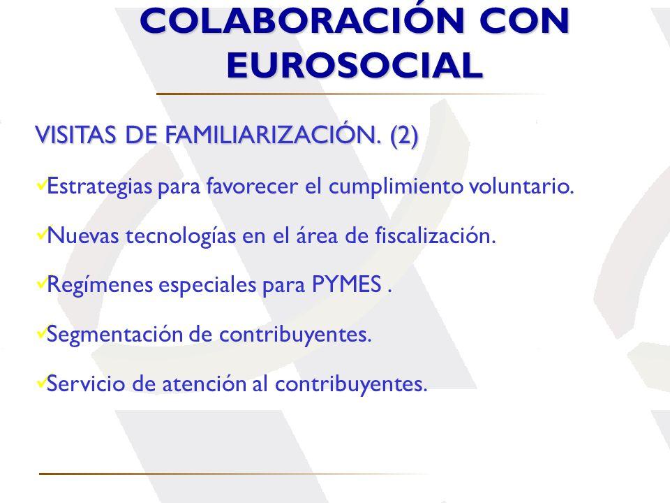 COLABORACIÓN CON EUROSOCIAL VISITAS DE FAMILIARIZACIÓN. (2) Estrategias para favorecer el cumplimiento voluntario. Nuevas tecnologías en el área de fi