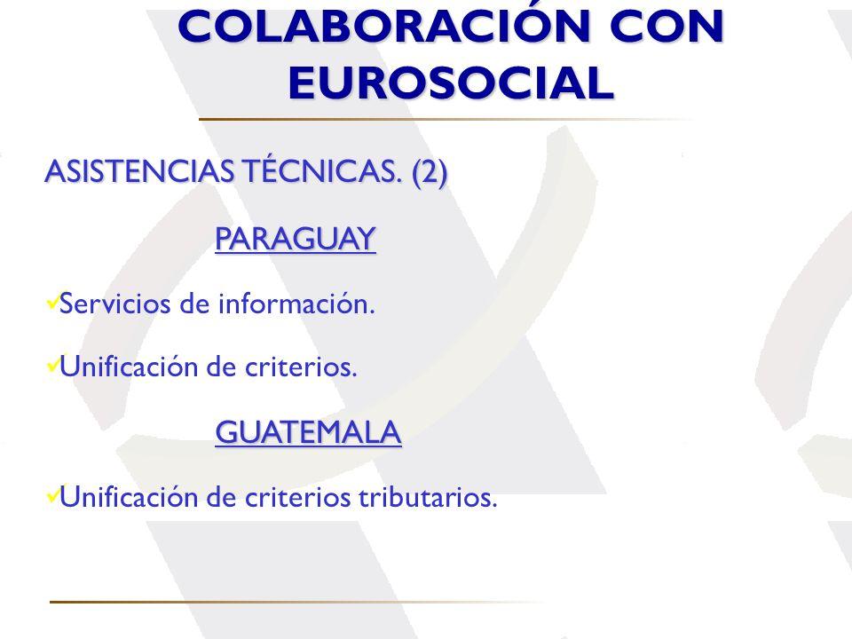 COLABORACIÓN CON EUROSOCIAL ASISTENCIAS TÉCNICAS. (2) PARAGUAY Servicios de información. Unificación de criterios.GUATEMALA Unificación de criterios t