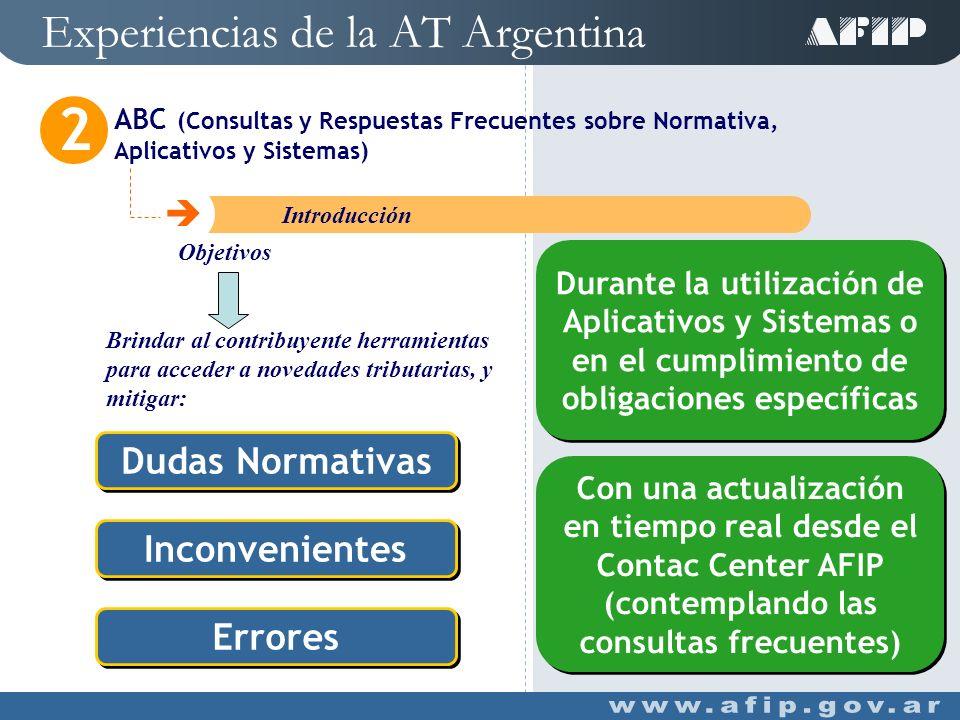 Experiencias de la AT Argentina ABC (Consultas y Respuestas Frecuentes sobre Normativa, Aplicativos y Sistemas) 2 C Introducción Herramienta On Line Herramienta On Line