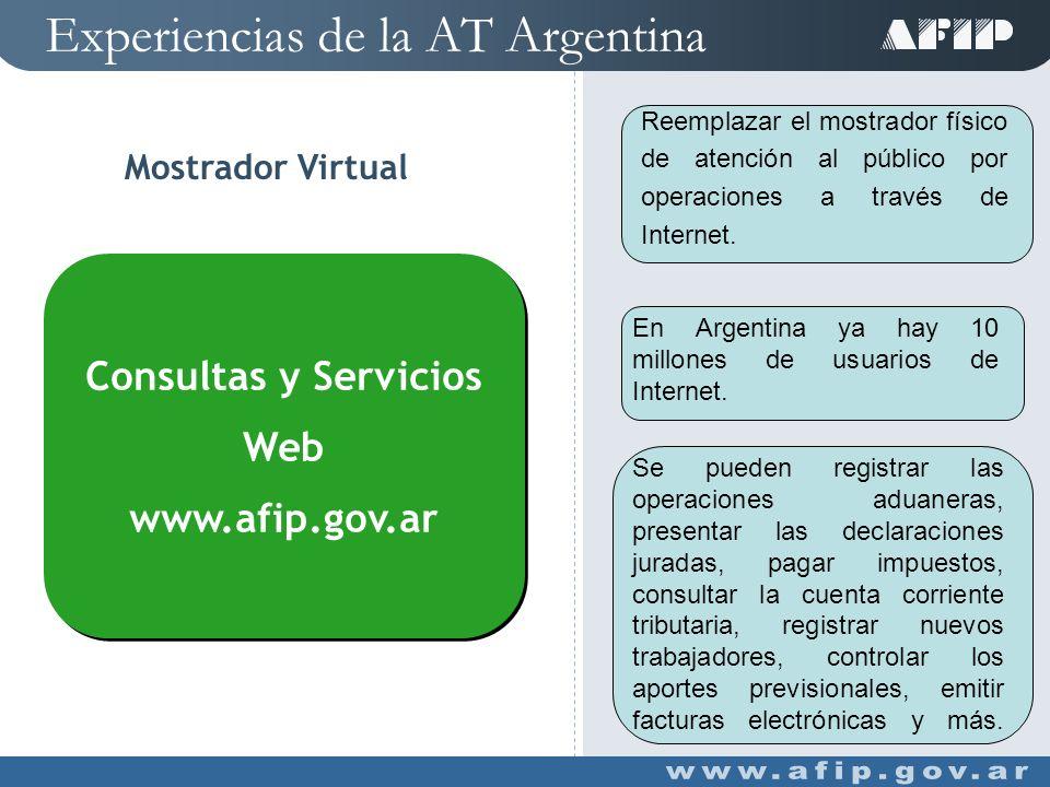 Experiencias de la AT Argentina Mostrador Virtual Reemplazar el mostrador físico de atención al público por operaciones a través de Internet.