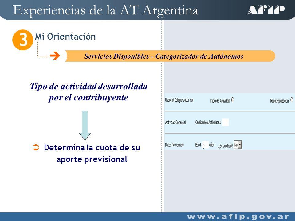 Experiencias de la AT Argentina Mi Orientación 3 C Servicios Disponibles - Nuevos Contribuyentes Determina la cuantía de su obligación Determina Régimen aplicable (General o Monotributo) Tipo de Contribuyente Tipo de actividad Y
