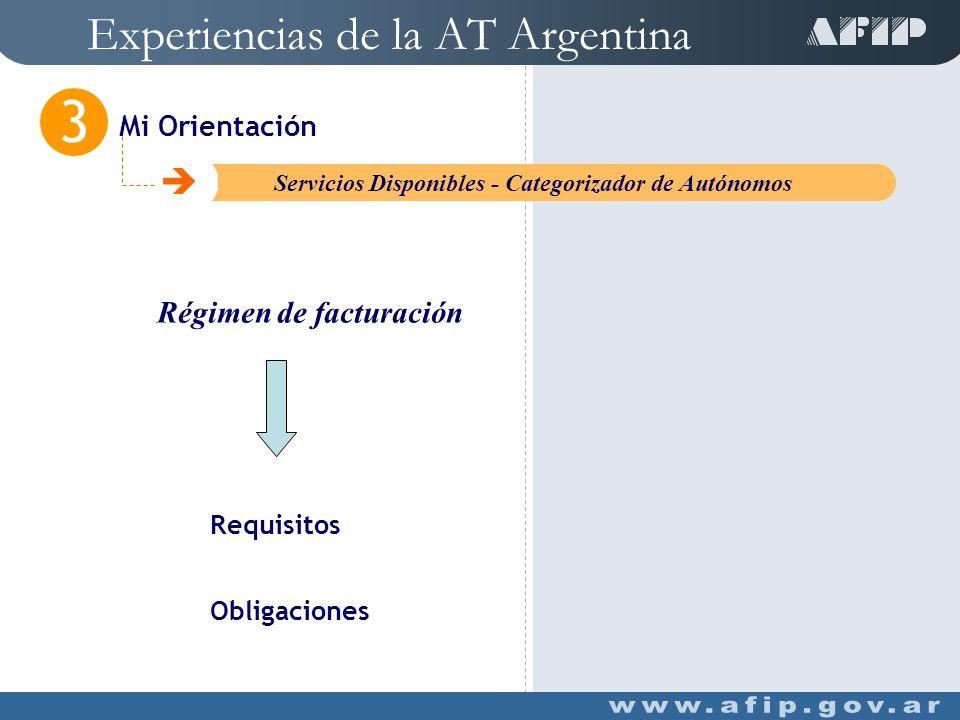 Experiencias de la AT Argentina Mi Orientación 3 C Servicios Disponibles - Categorizador de Autónomos Determina la cuota de su aporte previsional Tipo de actividad desarrollada por el contribuyente