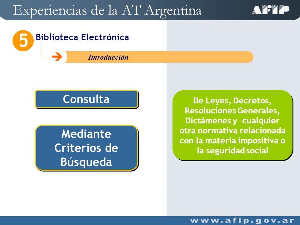 Experiencias de la AT Argentina Biblioteca Electrónica 5 C Introducción Herramienta On Line Herramienta On Line