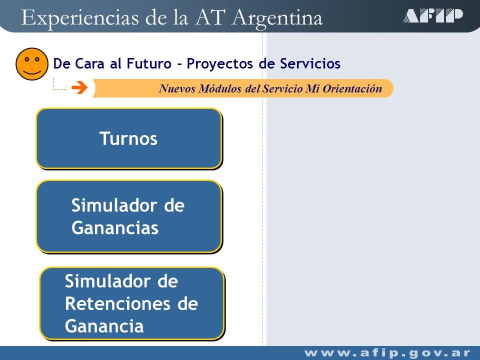 Único canal de acceso ACCESIBLE C Ventanilla Única Simplificar y facilitar trámites Ahorro de tiempo Experiencias de la AT Argentina De Cara al Futuro - Proyectos de Servicios