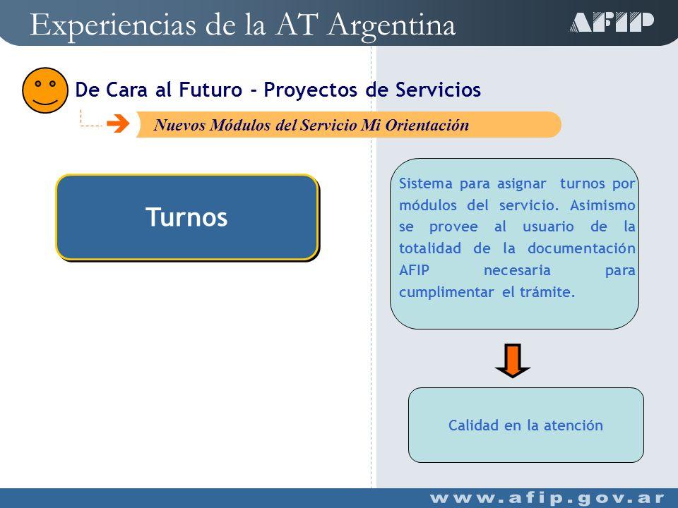 Turnos Turnos Simulador de Ganancias Simulador de Retenciones de Ganancia Experiencias de la AT Argentina C Nuevos Módulos del Servicio Mi Orientación De Cara al Futuro - Proyectos de Servicios
