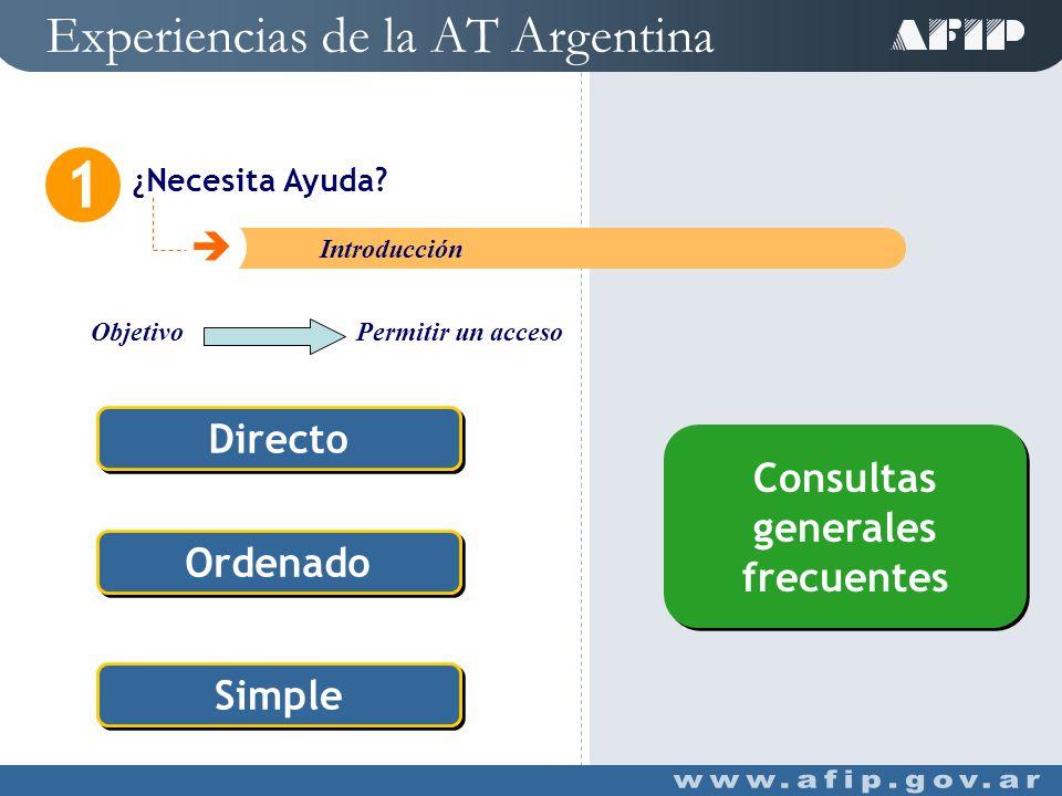 Experiencias de la AT Argentina Mi Orientación 3 C Introducción Conocer con anterioridad a la inscripción o confección de la Declaración Jurada, la cuantía de su obligación fiscal Opcional Sin Identificación Modular Simulación