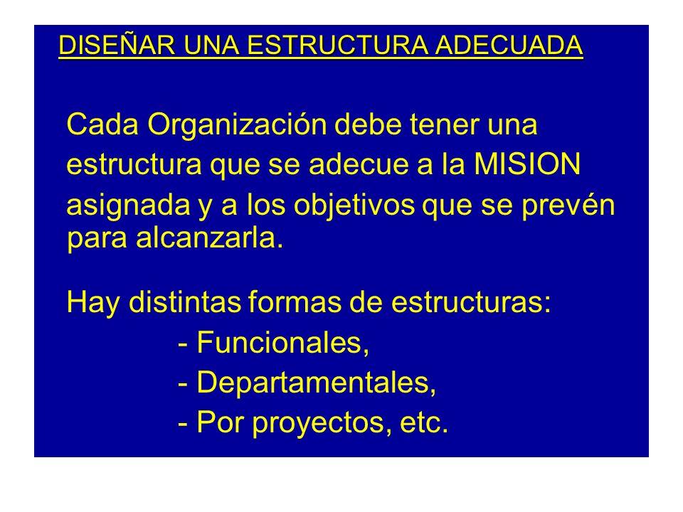 DISEÑAR UNA ESTRUCTURA ADECUADA DISEÑAR UNA ESTRUCTURA ADECUADA Cada Organización debe tener una estructura que se adecue a la MISION asignada y a los