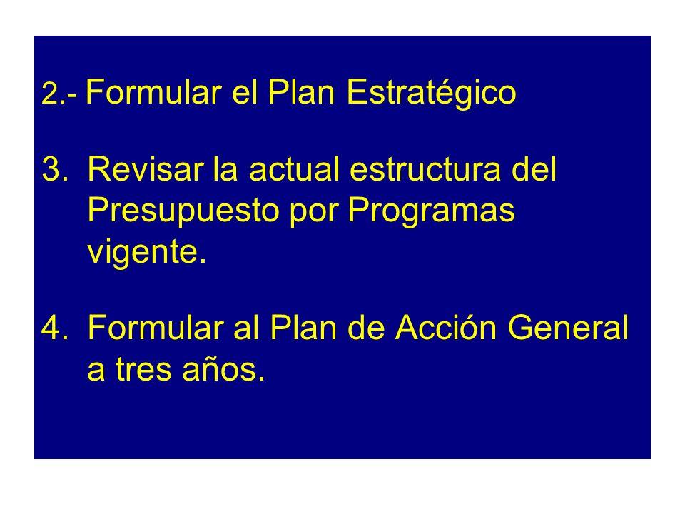 2.- Formular el Plan Estratégico 3.Revisar la actual estructura del Presupuesto por Programas vigente. 4.Formular al Plan de Acción General a tres año