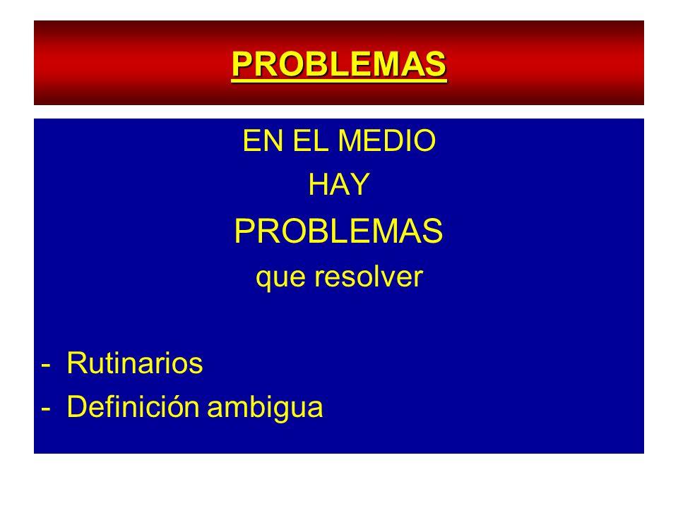 PROBLEMAS EN EL MEDIO HAY PROBLEMAS que resolver -Rutinarios -Definición ambigua