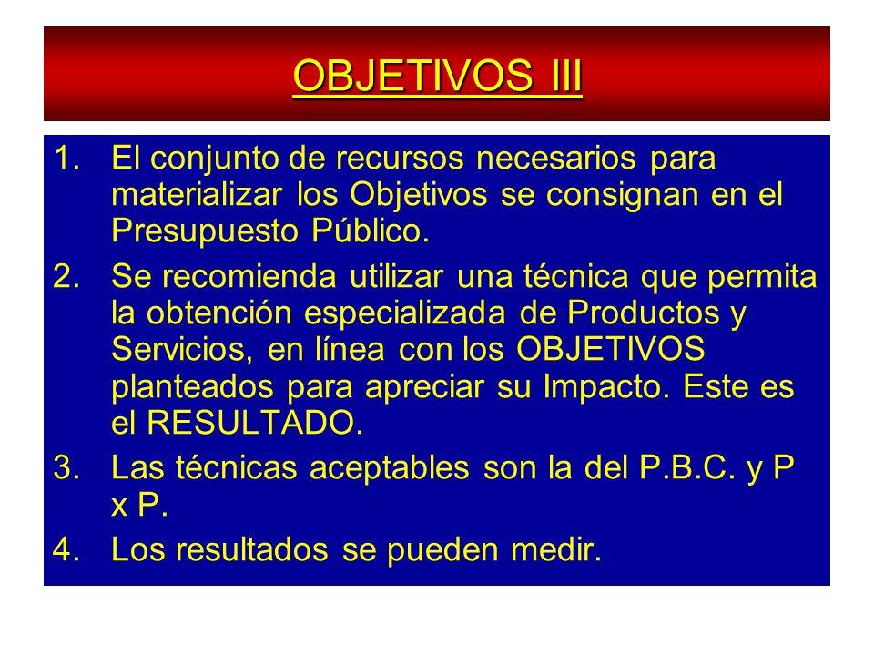 OBJETIVOS III 1.El conjunto de recursos necesarios para materializar los Objetivos se consignan en el Presupuesto Público. 2.Se recomienda utilizar un