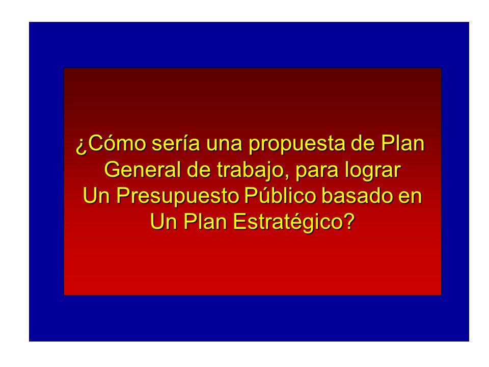 ¿Cómo sería una propuesta de Plan General de trabajo, para lograr Un Presupuesto Público basado en Un Plan Estratégico?