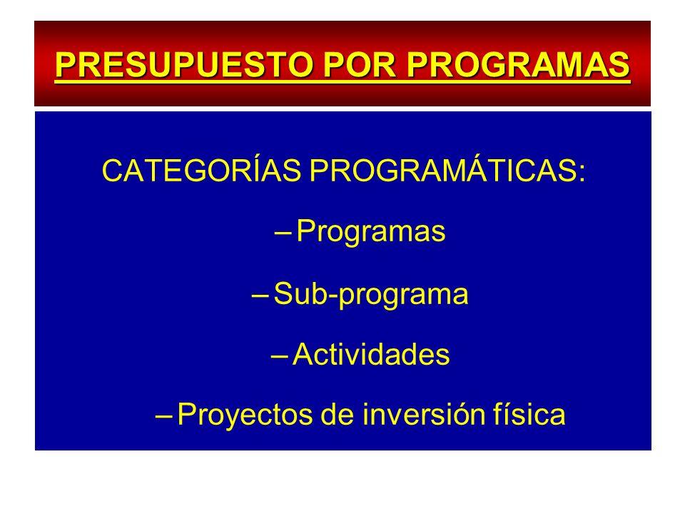 PRESUPUESTO POR PROGRAMAS CATEGORÍAS PROGRAMÁTICAS: –Programas –Sub-programa –Actividades –Proyectos de inversión física