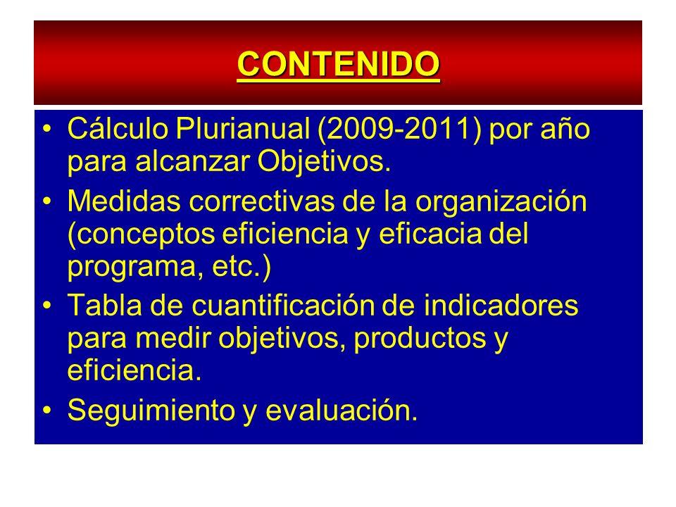 CONTENIDO Cálculo Plurianual (2009-2011) por año para alcanzar Objetivos. Medidas correctivas de la organización (conceptos eficiencia y eficacia del
