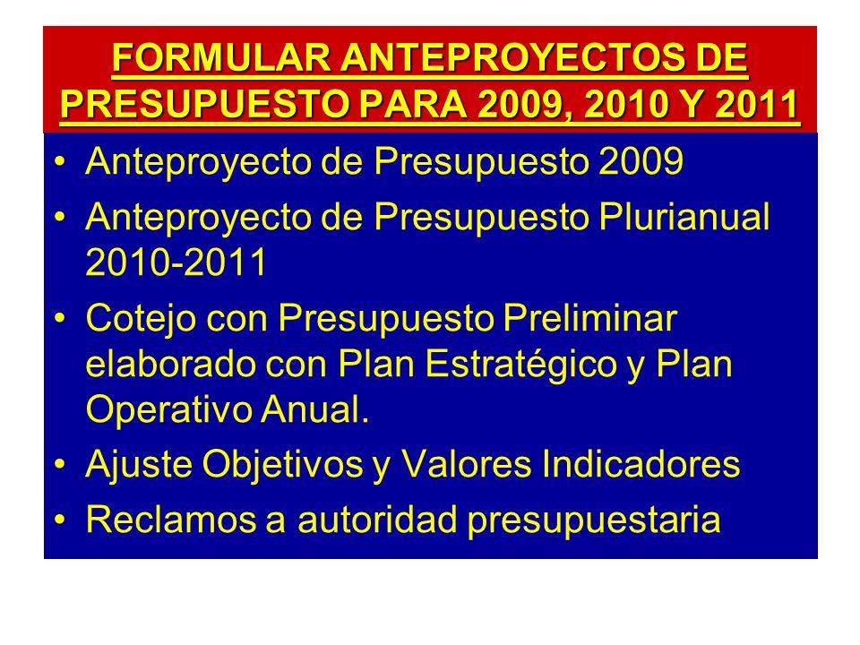 FORMULAR ANTEPROYECTOS DE PRESUPUESTO PARA 2009, 2010 Y 2011 Anteproyecto de Presupuesto 2009 Anteproyecto de Presupuesto Plurianual 2010-2011 Cotejo