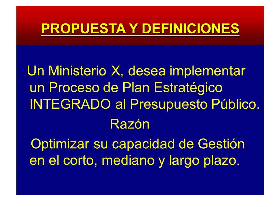 Un Ministerio X, desea implementar un Proceso de Plan Estratégico INTEGRADO al Presupuesto Público. Razón Optimizar su capacidad de Gestión en el cort