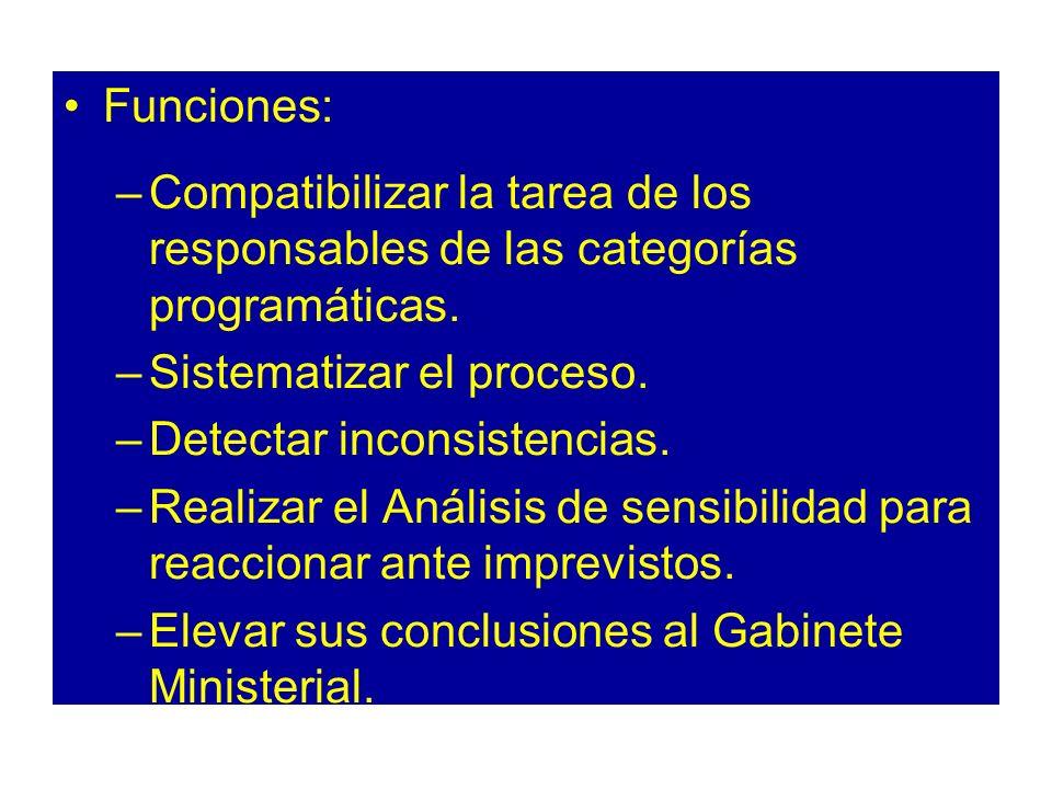 Funciones: –Compatibilizar la tarea de los responsables de las categorías programáticas. –Sistematizar el proceso. –Detectar inconsistencias. –Realiza