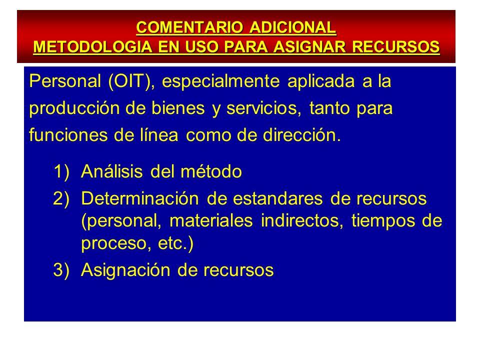 COMENTARIO ADICIONAL METODOLOGIA EN USO PARA ASIGNAR RECURSOS Personal (OIT), especialmente aplicada a la producción de bienes y servicios, tanto para