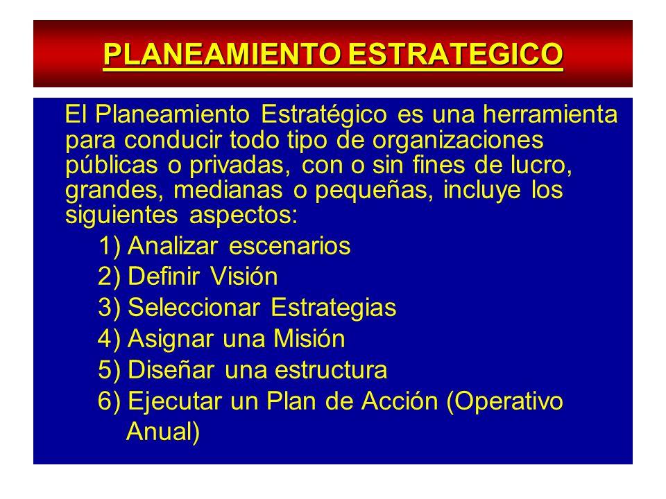 PLANEAMIENTO ESTRATEGICO El Planeamiento Estratégico es una herramienta para conducir todo tipo de organizaciones públicas o privadas, con o sin fines