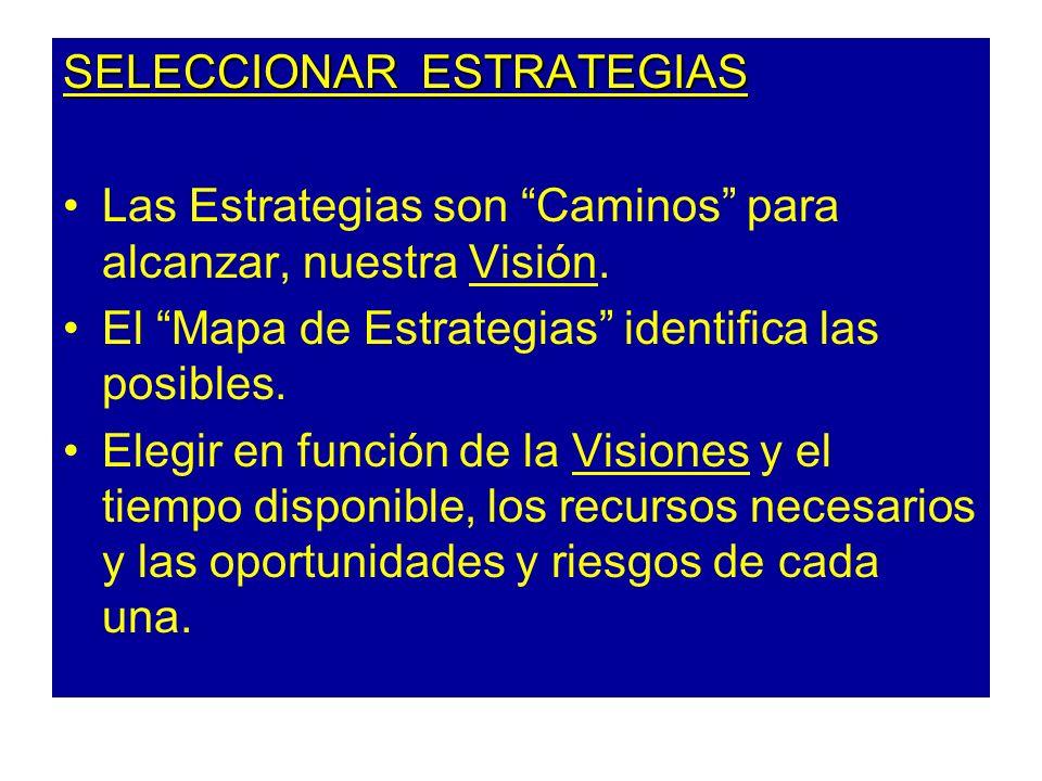 SELECCIONAR ESTRATEGIAS Las Estrategias son Caminos para alcanzar, nuestra Visión. El Mapa de Estrategias identifica las posibles. Elegir en función d