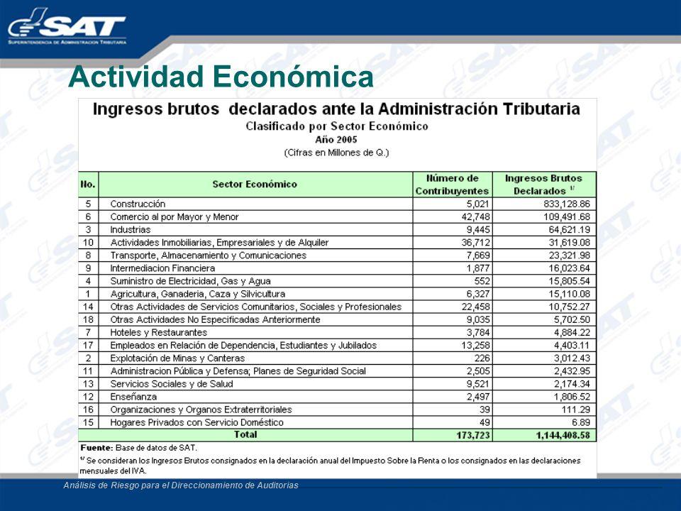 Análisis de Riesgo para el Direccionamiento de Auditorias Actividad Económica