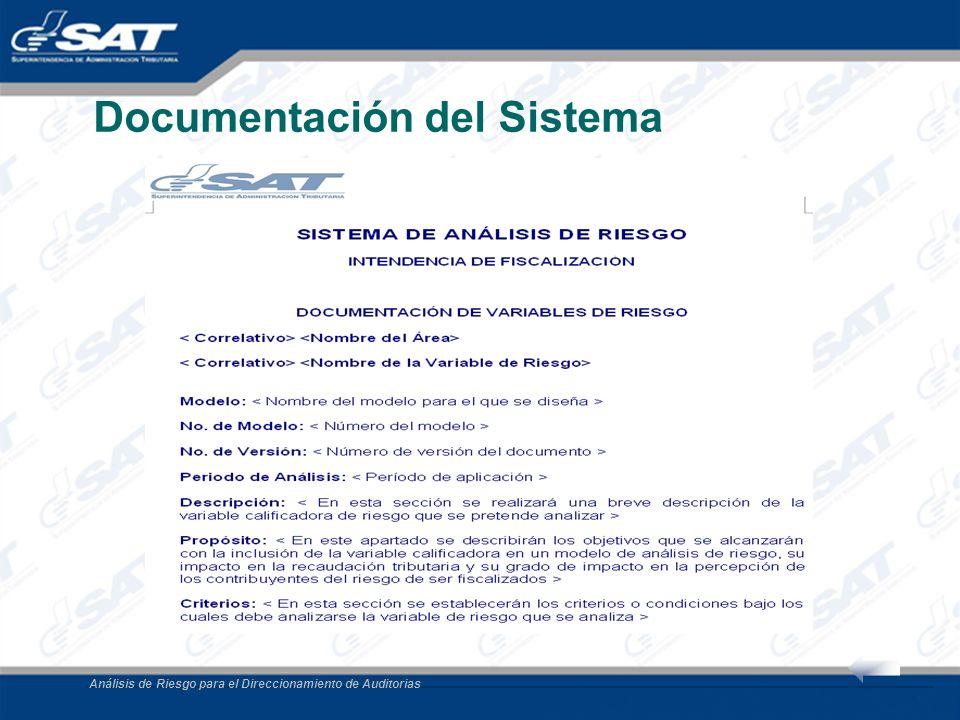 Análisis de Riesgo para el Direccionamiento de Auditorias Documentación del Sistema