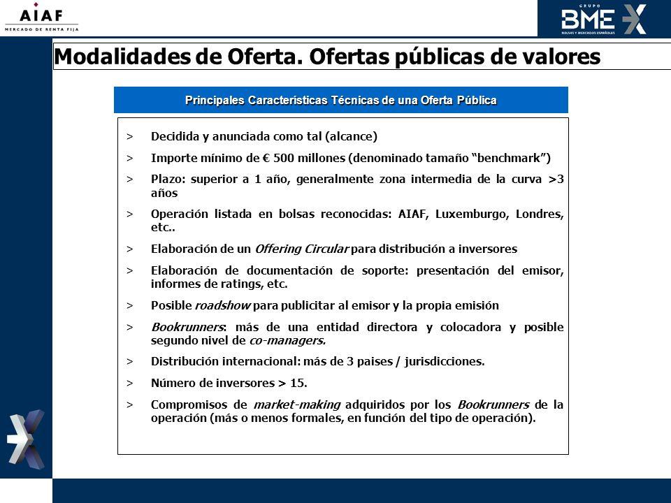 Principales Características Técnicas de una Oferta Pública >Decidida y anunciada como tal (alcance) >Importe mínimo de 500 millones (denominado tamaño