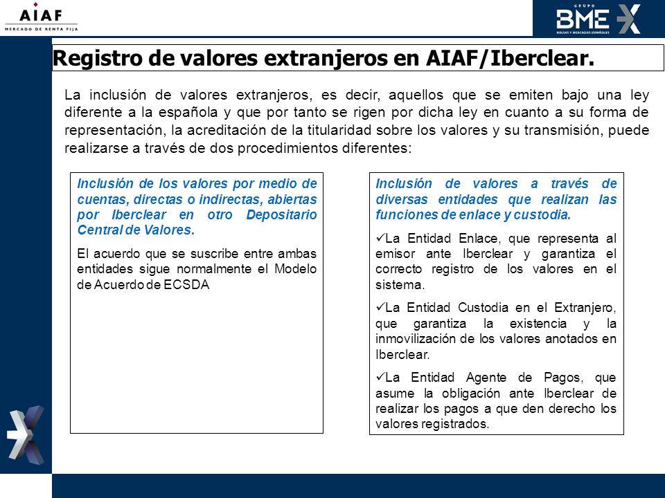 Registro de valores extranjeros en AIAF/Iberclear. La inclusión de valores extranjeros, es decir, aquellos que se emiten bajo una ley diferente a la e