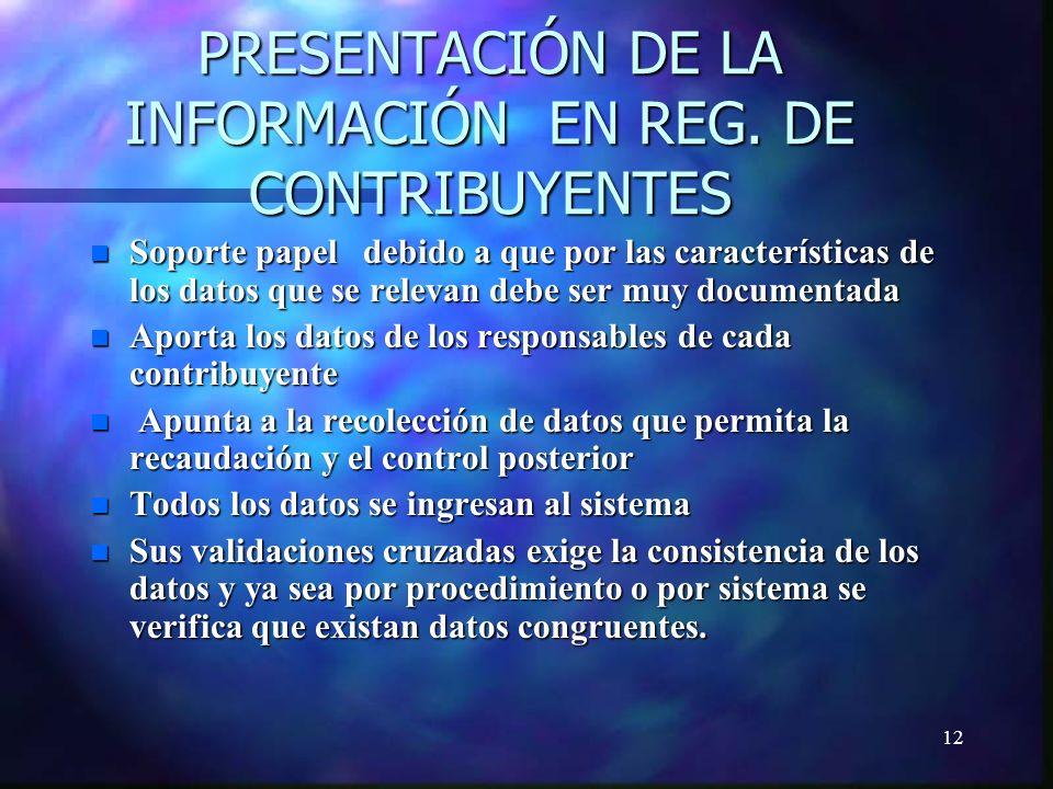 12 PRESENTACIÓN DE LA INFORMACIÓN EN REG.
