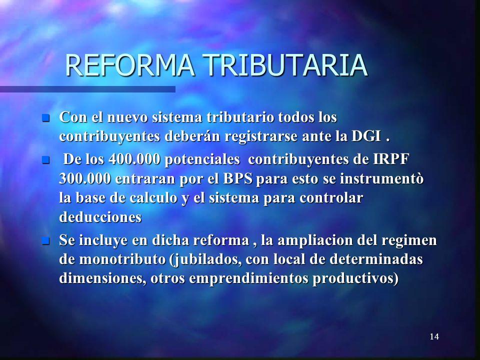 14 REFORMA TRIBUTARIA n Con el nuevo sistema tributario todos los contribuyentes deberán registrarse ante la DGI.