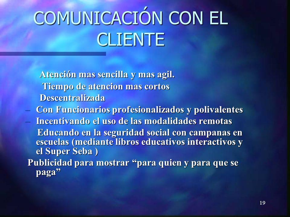 19 COMUNICACIÓN CON EL CLIENTE Atención mas sencilla y mas agil.